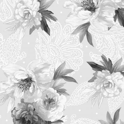 Nocturne- gray/black/white flowers w/design