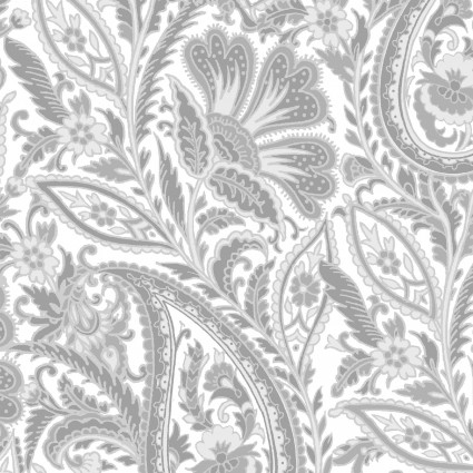 Nocturne- Gray & white paisley
