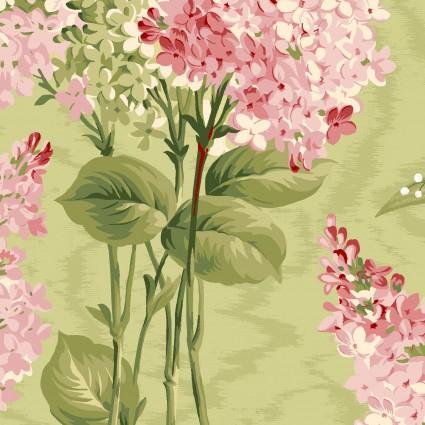 Maywood Studio Sensibility Lilacs on Moire Green MAS9630-G