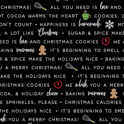 Holiday Baking Phrases, black