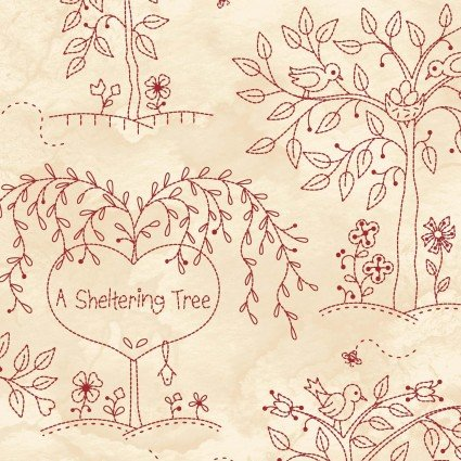 Sheltering Tree - Sheltering Trees Red on Cream by Robin Kingsley