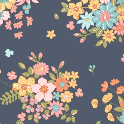 Sunlit Blooms Scattered Bouquet Navy