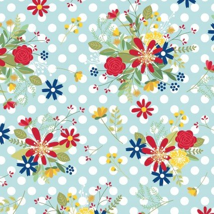 Polka Dot Flower on Teal - Red, White and Bloom by Kimberbell