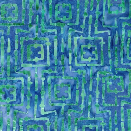 Bejeweled - Blue/Green Stitched Squares