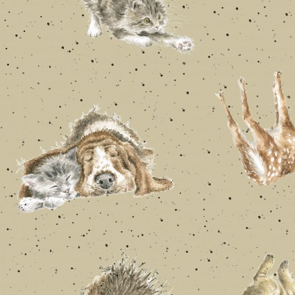 Animal Love Fabric - Tan Love Is Collection by Maywood Studio