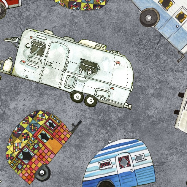 Tossed Trailers Fat Quarter  - Grey Quilter's Road Trip Collection by Maywood Studio
