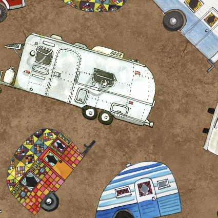 Maywood Studio - Quilter's Road Trip Trailers Brown