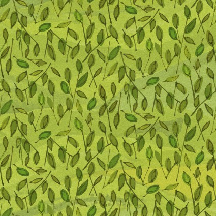 Leaves Fabric - Green Quilter's Road Trip Collection by Maywood Studio