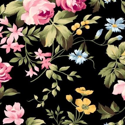 Wild Rose Flannel large floral black