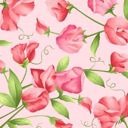 Sweet Pea Flannel,  flowers on pink