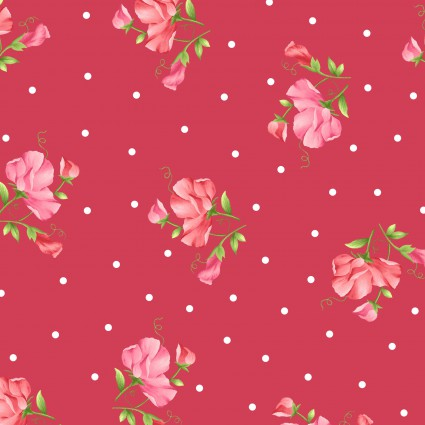 Sweet Pea Flannel,  little flowers on red