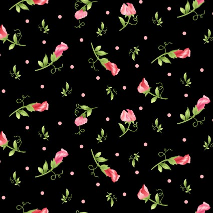Sweet Pea Flannel - black/pink roses=