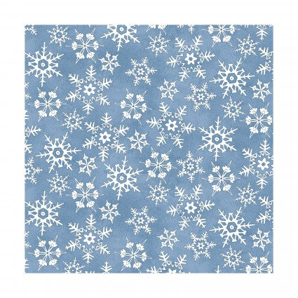 Miniature Snowflakes, medium blue-Christmas Joys Flannel