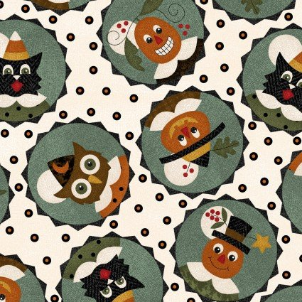 Maywood - Happy Jacks & Friends FLANNEL-Owls in Circles/Green - 9401-E
