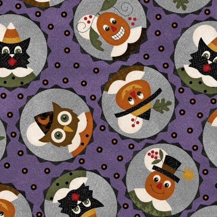 Maywood - Happy Jacks & Friends FLANNEL-Owls in Circles - 9401-V