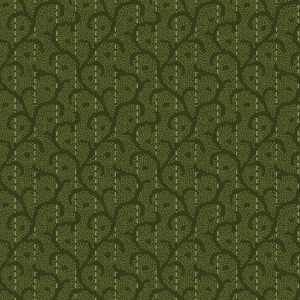 Heritage Woolies Flannel: Stitched Scroll - Green