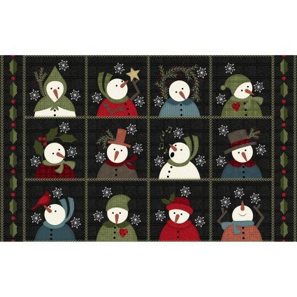 Maywood Snowdays Charcoal Snowmen 9 Squares on Flannel  (Pre-Order)-06/30/2021