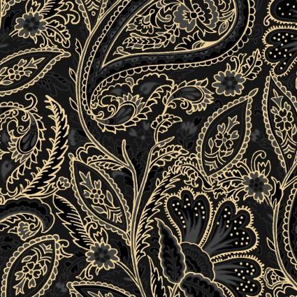 Glad Tidings Metallic : Elegant Paisley Rich Black - #MASM9823-J