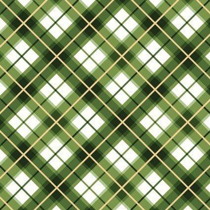 Glad Tidings Metallic : Diagonal Plaid Green - #MASM9824-G