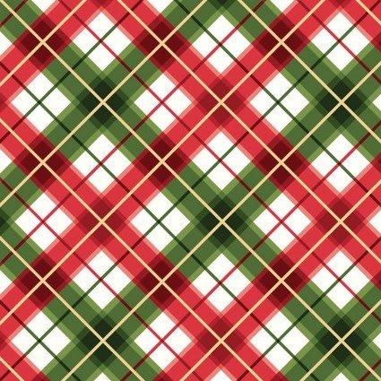 Glad Tidings Metallic : Diagonal Plaid Red/Green - #MASM9824-RG