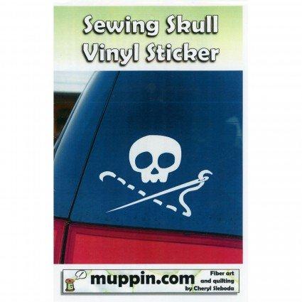 Sewing Skull Vinyl Sticker