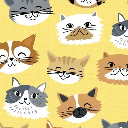 A. E. Nathan Co - Comfy Prints - Happy Cats - Yellow