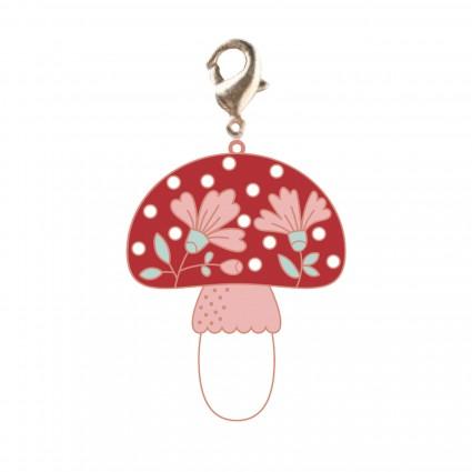 Zipper Pull Charm/Red Mushroom/Poppie Cotton