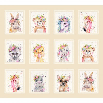 Little Darlings 1yd Panel Tan