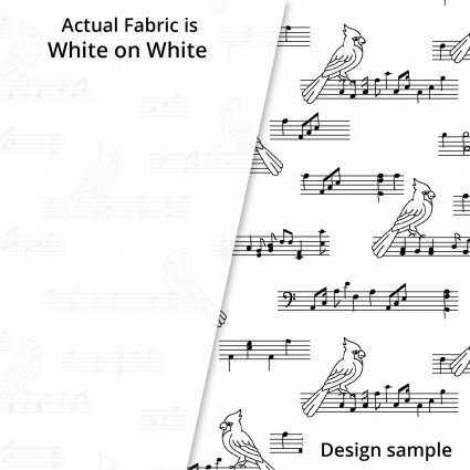 SPECIALTY FABRICS:  White Birds on Musical Notation on White: Ramblings Holiday II by P&B Textiles