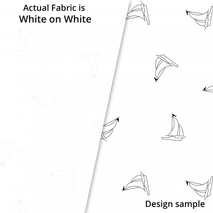 SPECIALTY FABRICS:  White Sailboat Outlines on White:  Ramblings Fun by P&B Textiles