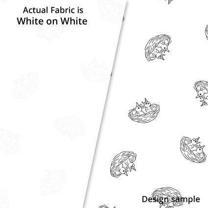 SPECIALTY FABRICS:  White Baby Birds in Nest on White: Ramblings Spring by P&B Textiles