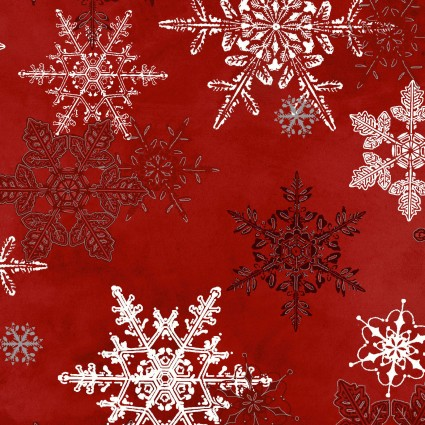 Winter Wonderland Lg. Red Snowflakes