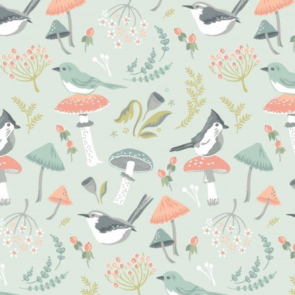 Woodland Songbirds Fabric Light Blue by Popppie Cotton