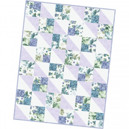 Watercolor Hydrangeas Precut Four Square Quilt