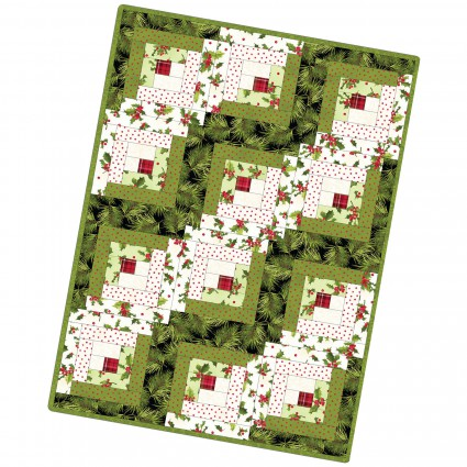 Poinsettia & Pine Log Cabin Quilt