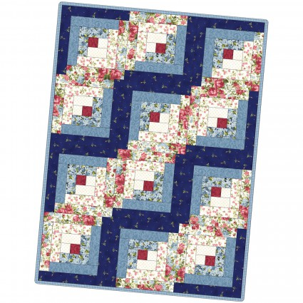 12 Block Log Cabin Quilt Pod Roses on the Vine 29 x 39
