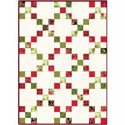 Poinsettia & Pine Irish Chain Quilt