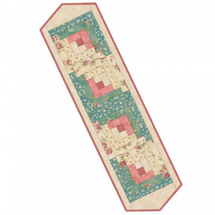 PODS LOG CABIN RUNNER Welcome Home Collection One - Rose & Teal MAS01 WHC1 1