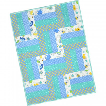 12 Block Rail Fence Quilt Pod Little One Flannel Too! - Blue 24 x 32