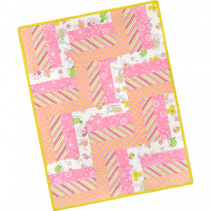 12 Block Rail Fence Quilt Pod Little One Flannel Too! - Pink 24 x 32