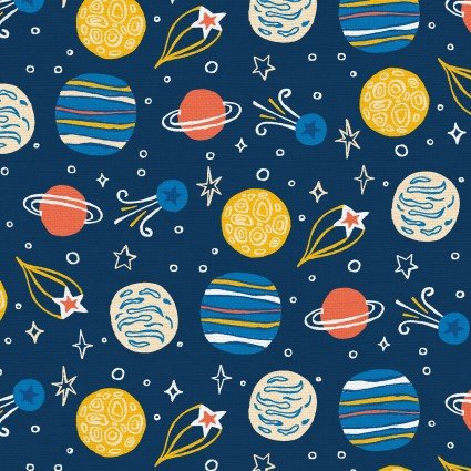 Space Monkey Planets - Yellow & Blue