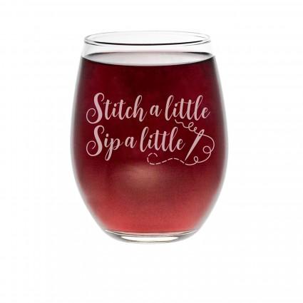 Wine Glass - Stitch A Little Sip a Little Barrel Glass