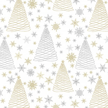 Sparkle Silver/Gold Trees and Snowflakes
