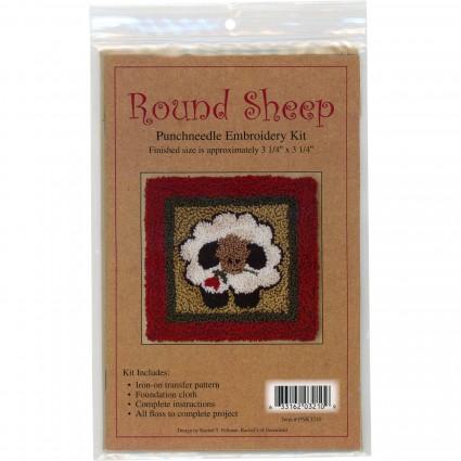 Punchneedle Embroidery Kit - Round Sheep
