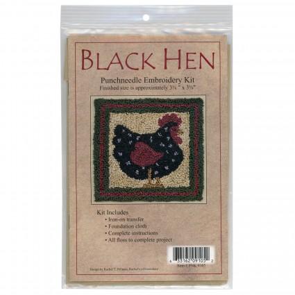 Punchneedle Embroidery Kit - BLACK HEN