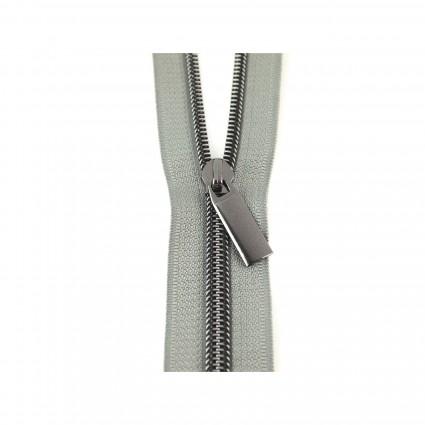 #10 Zipper by the Yard Gray w/Black