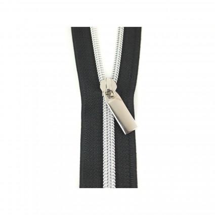 #11 Zipper by the Yard Black w/Silver