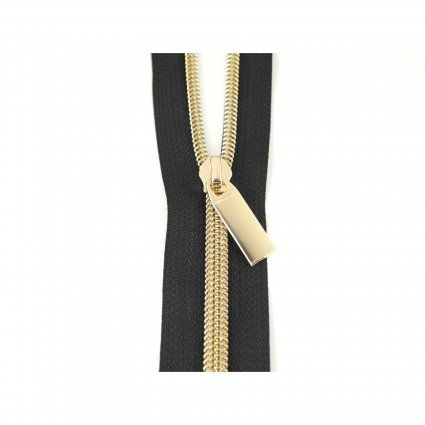 #5 Zipper by the Yard Black with gold
