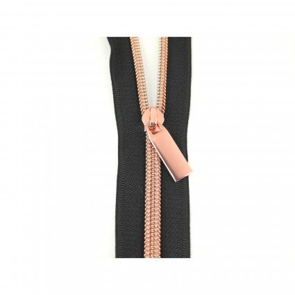 #13 Zipper by the Yard Black w/Copper