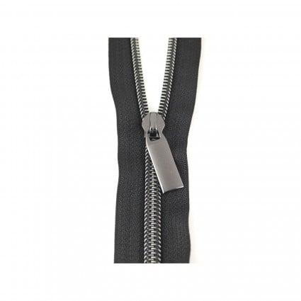 #5 Zipper by the Yard Black with Gunmetal